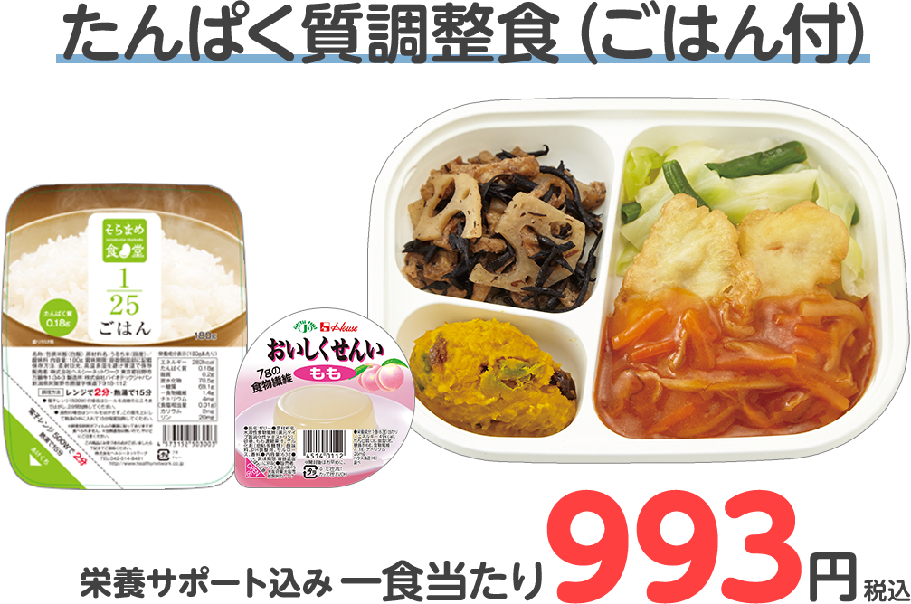 たんぱく質調整食(ごはん付) 一食当たり993円(税込)