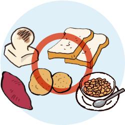 もち、食パン、サツマイモ ジャガイモ、シリアル