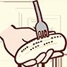 バナナを半分の長さに切り、フォークを縦にして全面をたくさん刺す