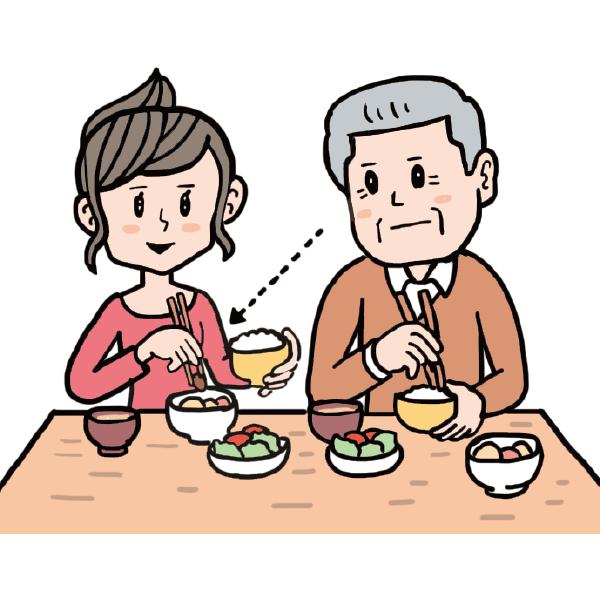 目の前で料理を食べる・箸を使う様子を見せ、認識してもらう